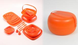 """Oranžinės spalvos plastikinių indų rinkinys 4 asmenims """"Picnic Master"""""""