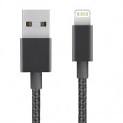 Juodas lankstus USB laidas skirtas iPhone 5, 5S, SE, 6, 7, iPad