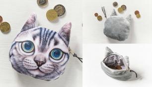 3D piniginė monetoms su katės atvaizdu