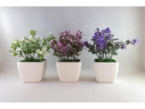 Dirbtinių gėlių vazonėlis, 17 cm