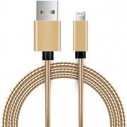 Metalinis USB laidas skirtas iPhone 5, 5S, SE, 6, 7, iPad (auksinis)