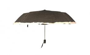 Moteriškas juodos spalvos skėtis baltais taškais