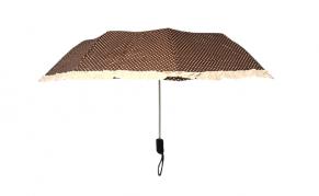 Moteriškas rudos spalvos skėtis baltais taškais
