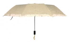 Moteriškas baltos spalvos skėtis juodais taškais