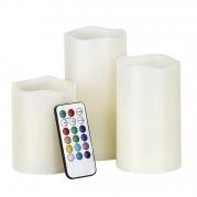 LED žvakių rinkinys su pulteliu (3 vnt)