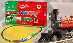 Žaislinis traukinukas su bėgiais