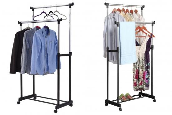Kompaktiška dviguba drabužių pakaba