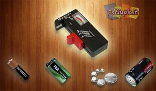 Įvairaus modelio baterijų tikrintuvas
