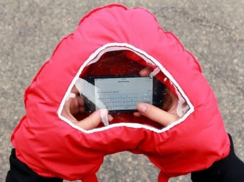 Širdelės formos neperšlampama pirštinė telefonui