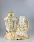 """Didelė gipsinė žvakė """"Baltas angelas su kalijomis"""""""