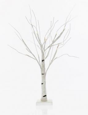 Baltas dekoratyvinis medis su LED diodais, 60 cm