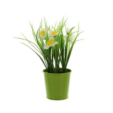 Dirbtinė gėlė metaliniame vazone, 22 cm