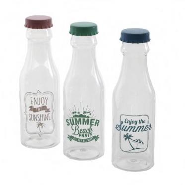 Plastikinis buteliukas su kamštuku, 3 spalvų, 500 ml