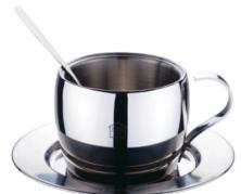 """""""King Hoff"""" nerūdijančio plieno puodelis su lėkštute ir šaukšteliu, 200 ml"""