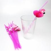 """Šiaudeliai vakarėliams """"Flamingas"""", 12 šiaudelių, Rožiniai"""