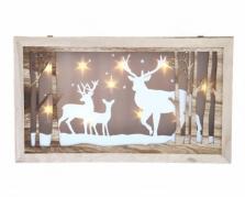 """3D paveikslas su LED apšvietimu """"Žiemos elniai"""", 26 x 45 cm"""
