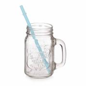 """Stiklinis puodelis su šiaudeliu """"Party"""", 500 ml"""