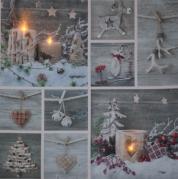 """Paveikslas su LED apšvietimu """"Kalėdų dekoracijos"""", 30 x 30 cm"""