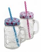 """Stiklinis puodelis su dangteliu ir šiaudeliu """"Flamingas"""", 450 ml"""