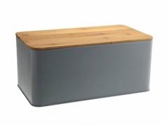 Aliuminė duoninė su bambukine lentele, 31 x 13,5 x 17,5 cm, Pilka