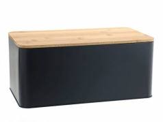 Aliuminė duoninė su bambukine lentele, 31 x 13,5 x 17,5 cm, Juoda