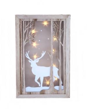 """3D paveikslas su LED apšvietimu """"Žiemos elnias"""", 40 x 26 cm"""