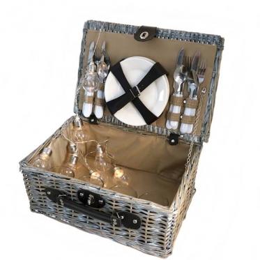 Iškylų krepšys su indais ir įrankiais, 40 x 18 x 28 cm
