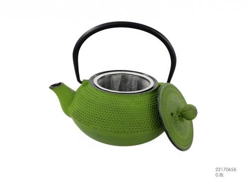 Žalias japoniško stiliaus ketaus arbatinukas, 0,8 l