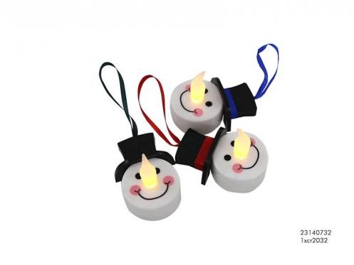 """LED žvakutė """"Sniego senis"""", 6 x 4 cm"""