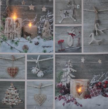 """Paveikslas su LED apšvietimu """"Kalėdų dekoracijos"""", 50 x 50 cm"""