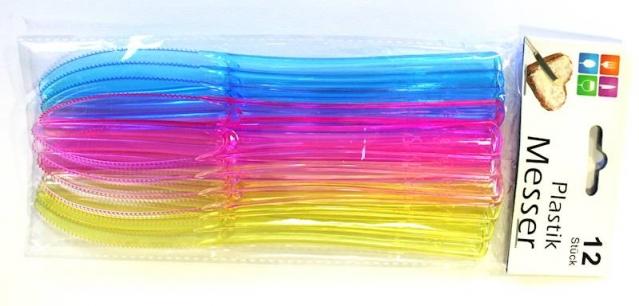 """Spalvingi plastikiniai peiliai """"Party"""", 12 vienetų"""
