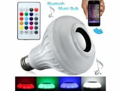 Spalvas keičianti LED lemputė su nuotolinio valdymo pulteliu ir garsiakalbiu