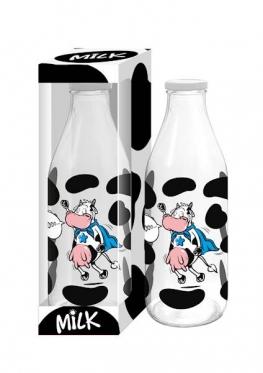 "Stiklinis buteliukas ""Super karvė"", 1 l"