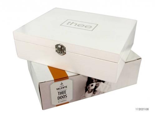 Balta medinė dėžutė arbatai, 27 x 21,5 x 7,5 cm