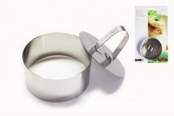 Nerūdijančio plieno žiedas maistui formuoti, 4 x 8 x 8 cm