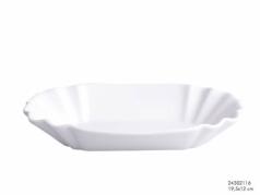 Baltas porcelianinis indas, 19,5 x 12 x 3,5 cm