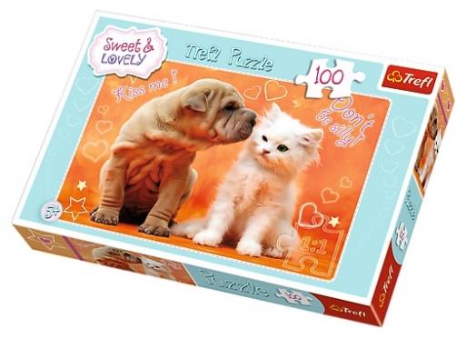 """""""Trefl"""" dėlionė """"Šuniukas ir kačiukas"""", 100 elementų"""