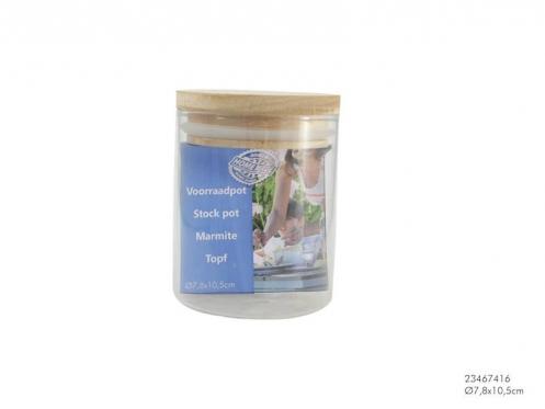 Stiklinis indelis su mediniu dangteliu, 340 ml