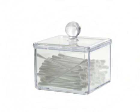 Elegantiška plastikinė dėžutė kosmetikos priemonėms, 11,5 x 9 x 9 cm