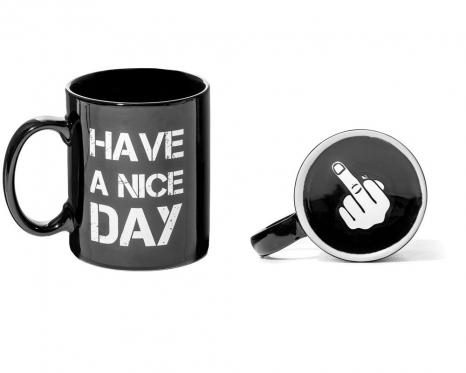 "Puodelis ""Have a Nice Day"", Juodas"