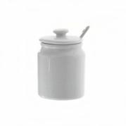 Balta porcelianinė cukrinė su šaukšteliu, 180 ml