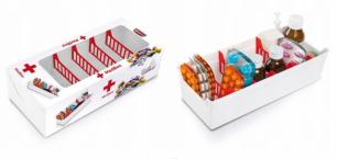 Vaistų dėžutė su skyreliais, 30,4 x 13 x 8 cm