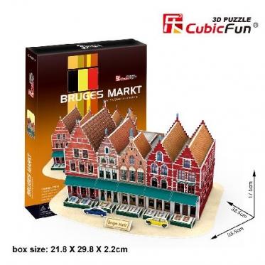 """Cubic Fun"" 3D dėlionė ""Briugės turgus"", 32,5 x 23,5 x 17,5 cm"