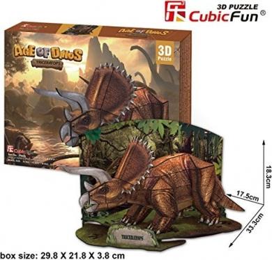 """Cubic Fun"" 3D dėlionė ""Triceratopsas"", 33,3 x 18,3 x 17,5 cm"