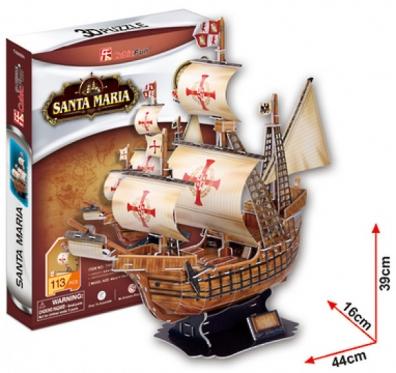 """""""Cubic Fun"""" 3D dėlionė """"Laivas Santa Maria"""", 44 x 39 x 16 cm"""