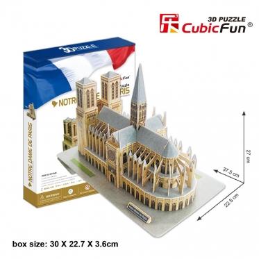 """Cubic Fun"" 3D dėlionė ""Noterdamo katedra"", 27 x 37,5 x 22,5 cm"
