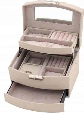 Trijų stalčių papuošalų dėžutė, 18,4 x 15 x 13 cm (kreminė)