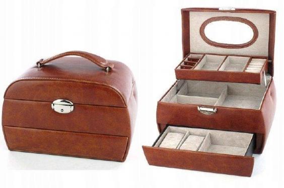 Trijų stalčių papuošalų dėžutė, 16,5 x 16 x 24 cm (ruda)