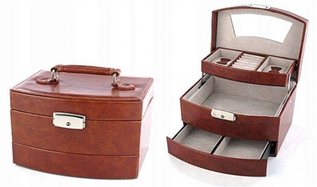 Trijų stalčių papuošalų dėžutė, 19 x 15 x 13 cm (ruda)