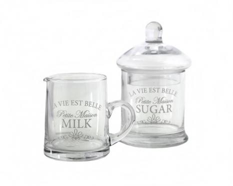 Stiklinės cukrinės ir indelio pienui komplektas